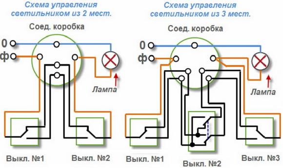 Схема переключения с двух и трех мест